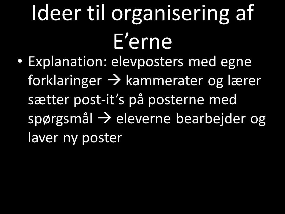 Ideer til organisering af E'erne
