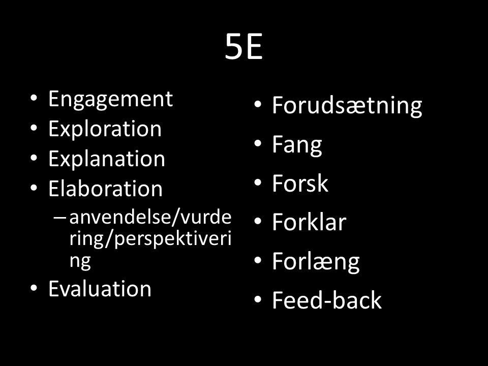 5E Forudsætning Fang Forsk Forklar Forlæng Feed-back Engagement