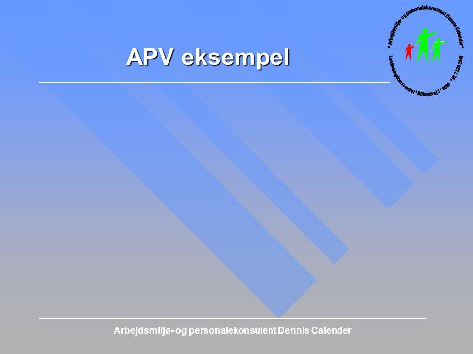 APV eksempel Arbejdsmiljø- og personalekonsulent Dennis Calender
