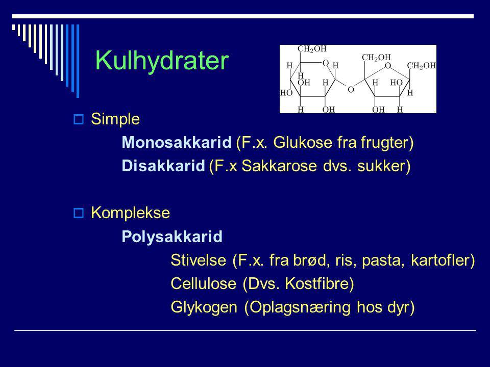 Kulhydrater Simple Monosakkarid (F.x. Glukose fra frugter)