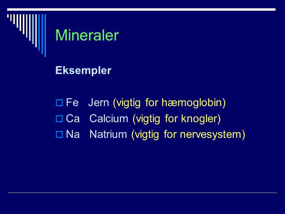 Mineraler Eksempler Fe Jern (vigtig for hæmoglobin)