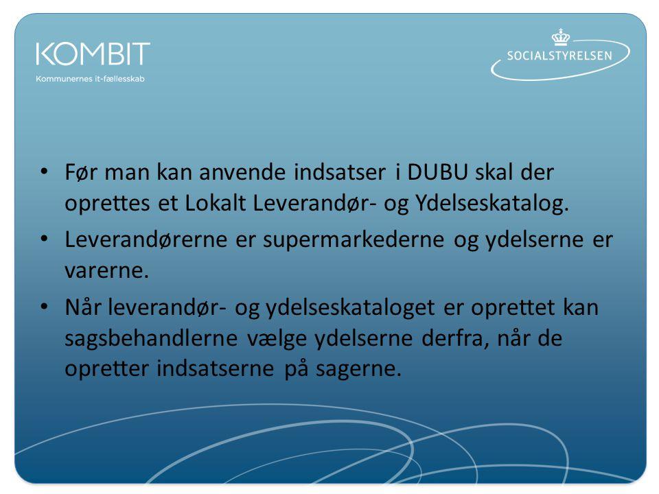 Før man kan anvende indsatser i DUBU skal der oprettes et Lokalt Leverandør- og Ydelseskatalog.