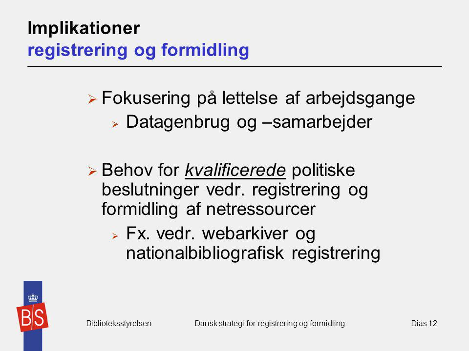 Implikationer registrering og formidling
