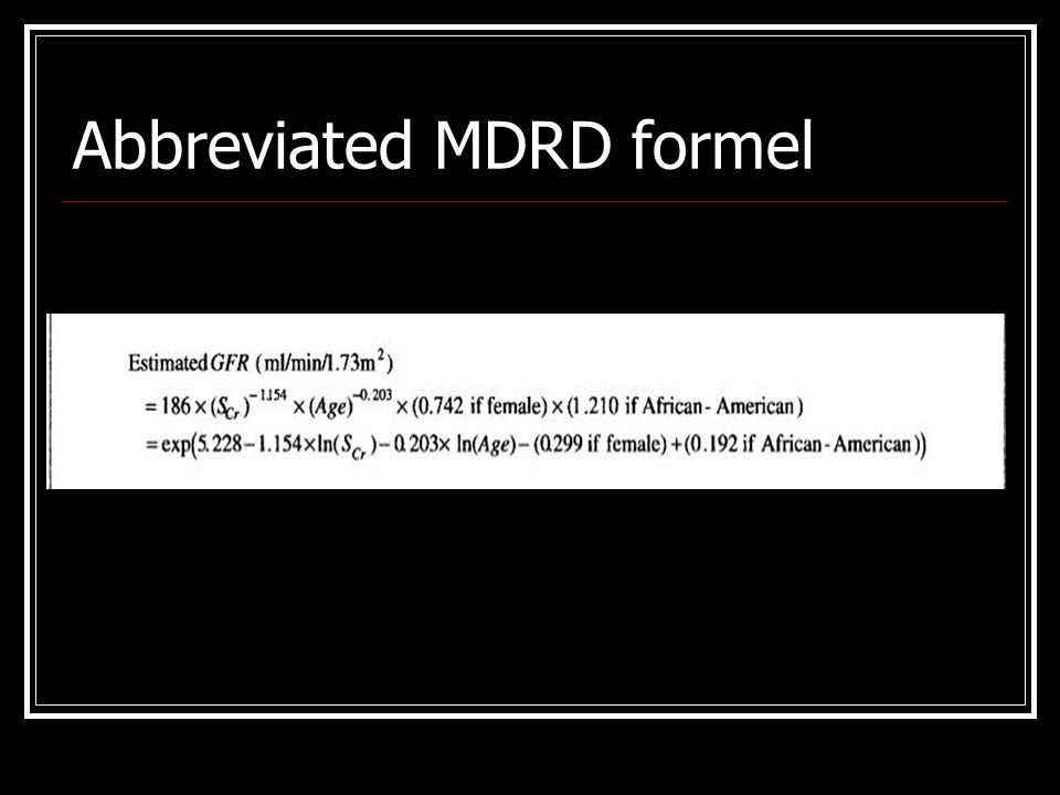 Abbreviated MDRD formel