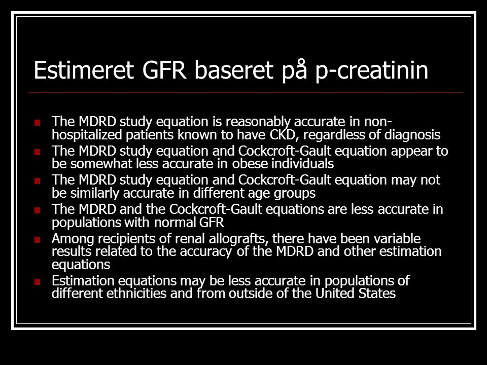 Estimeret GFR baseret på p-creatinin