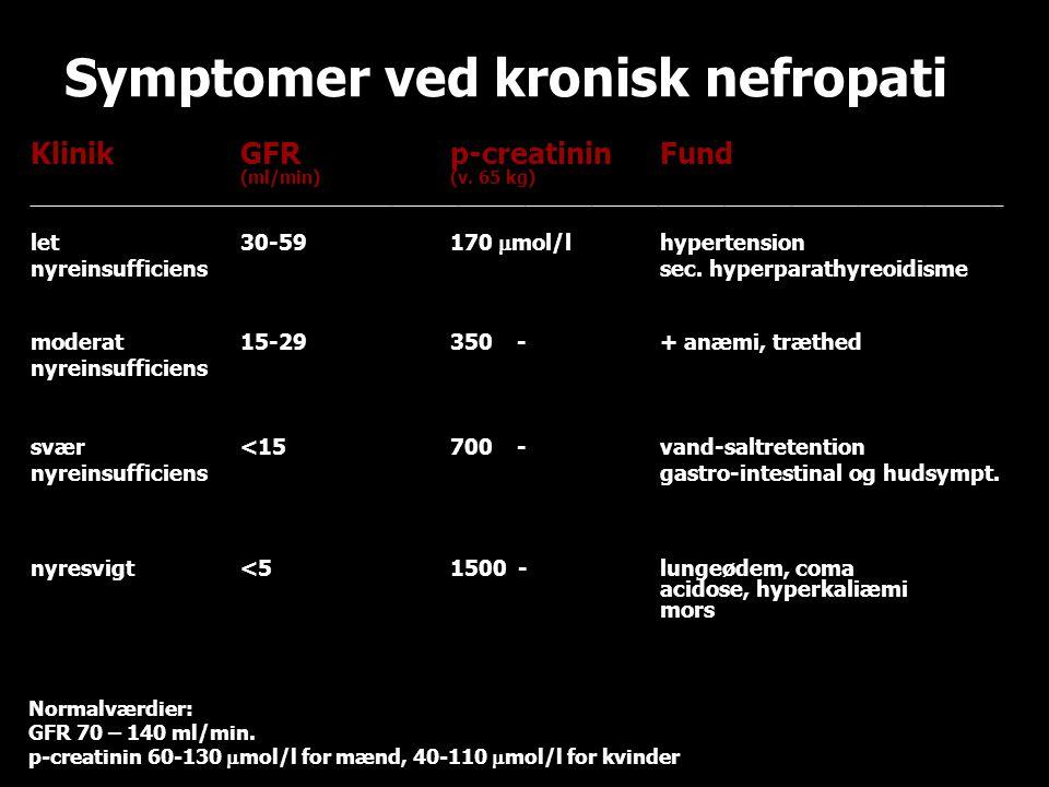 Symptomer ved kronisk nefropati