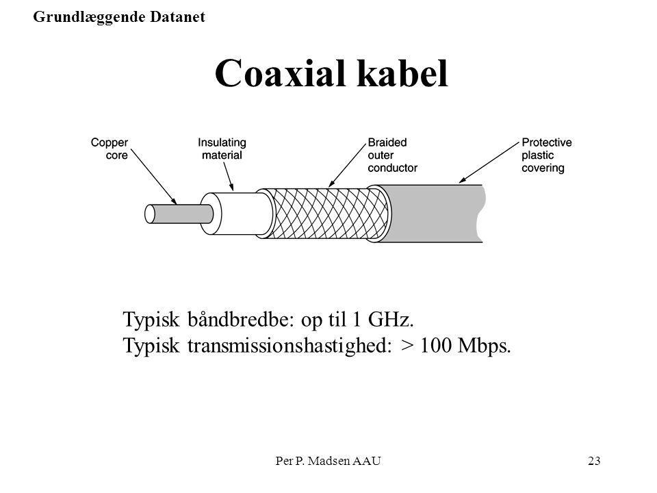 Coaxial kabel Typisk båndbredbe: op til 1 GHz.
