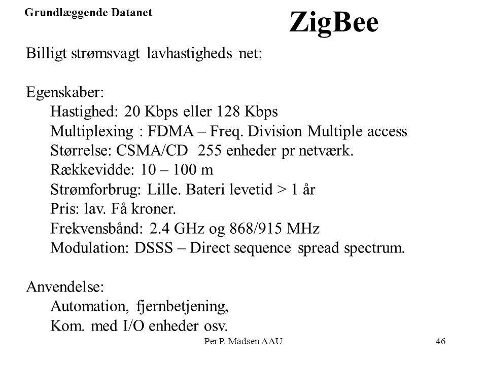 ZigBee Billigt strømsvagt lavhastigheds net: Egenskaber: