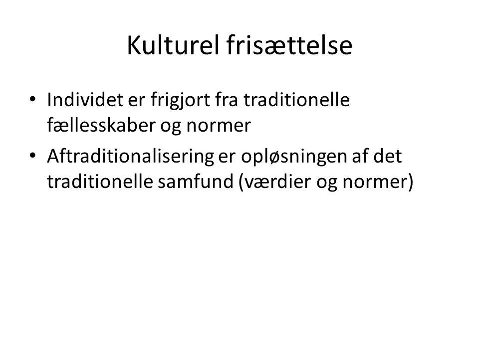 Kulturel frisættelse Individet er frigjort fra traditionelle fællesskaber og normer.