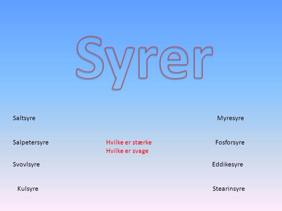 Syrer Saltsyre Myresyre Salpetersyre Hvilke er stærke Hvilke er svage