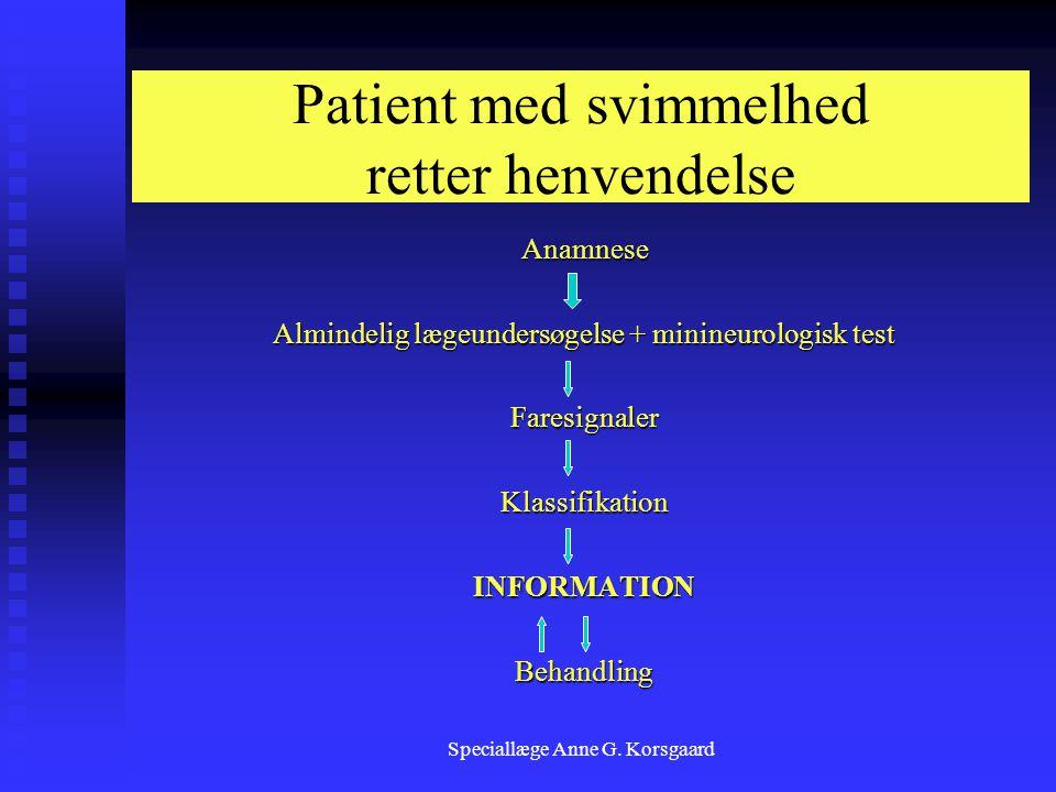 Patient med svimmelhed retter henvendelse