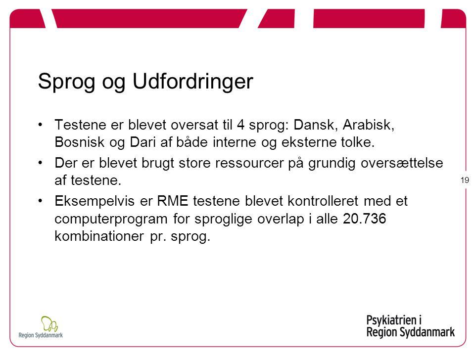 Sprog og Udfordringer Testene er blevet oversat til 4 sprog: Dansk, Arabisk, Bosnisk og Dari af både interne og eksterne tolke.