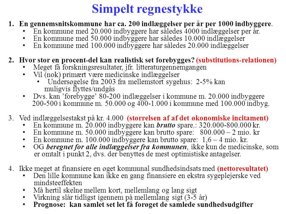 Simpelt regnestykke En gennemsnitskommune har ca. 200 indlæggelser per år per 1000 indbyggere.