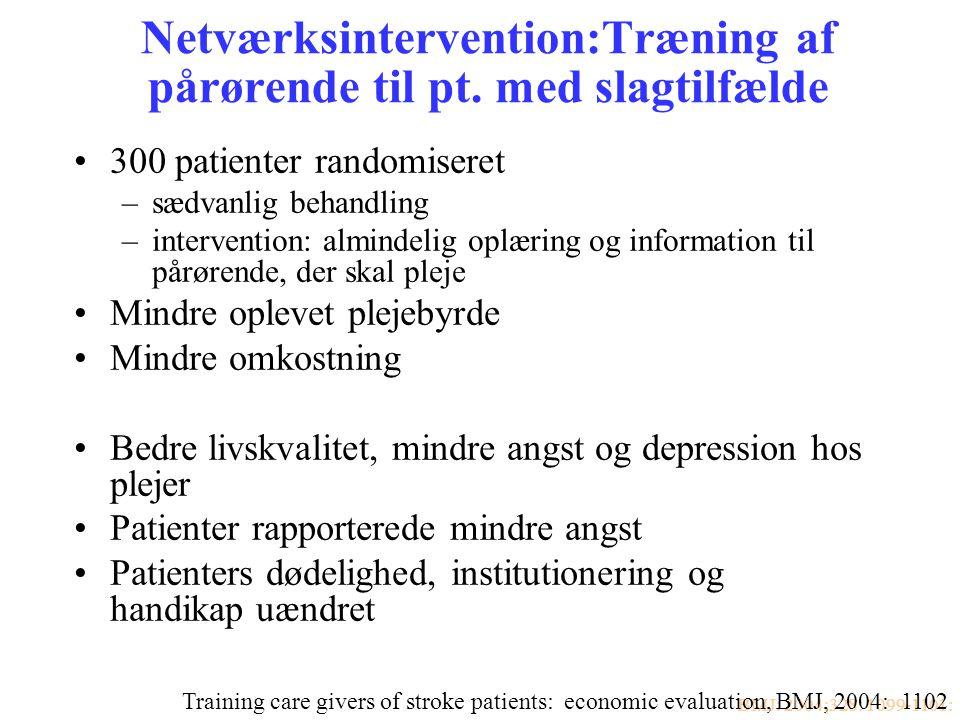 Netværksintervention:Træning af pårørende til pt. med slagtilfælde