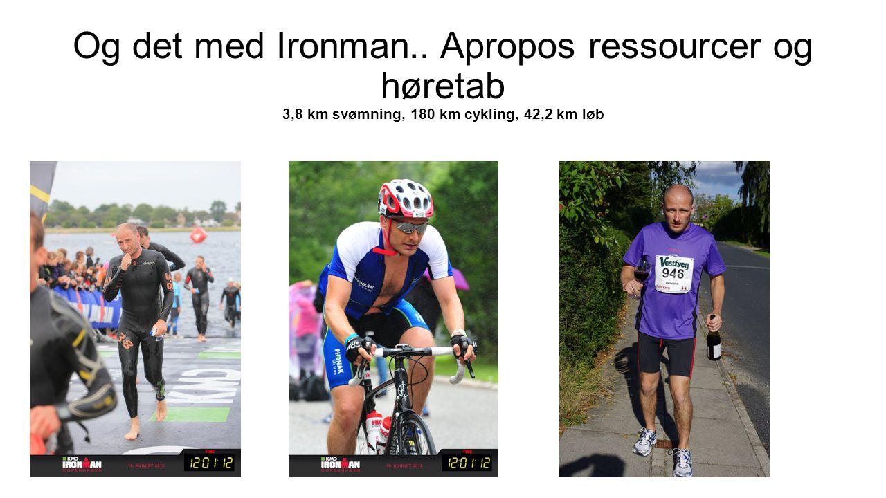 Og det med Ironman.. Apropos ressourcer og høretab 3,8 km svømning, 180 km cykling, 42,2 km løb