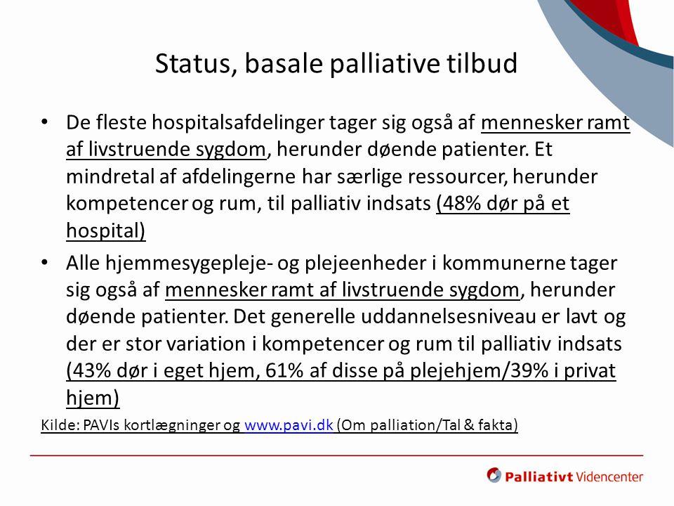 Status, basale palliative tilbud