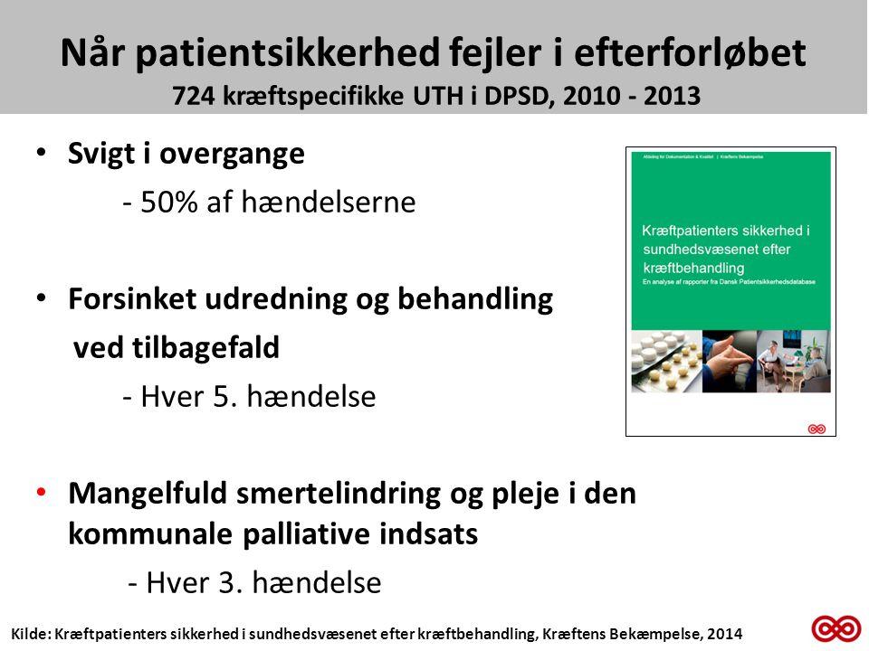 Når patientsikkerhed fejler i efterforløbet 724 kræftspecifikke UTH i DPSD, 2010 - 2013