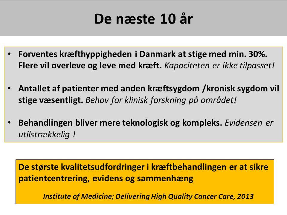 De næste 10 år Forventes kræfthyppigheden i Danmark at stige med min. 30%. Flere vil overleve og leve med kræft. Kapaciteten er ikke tilpasset!