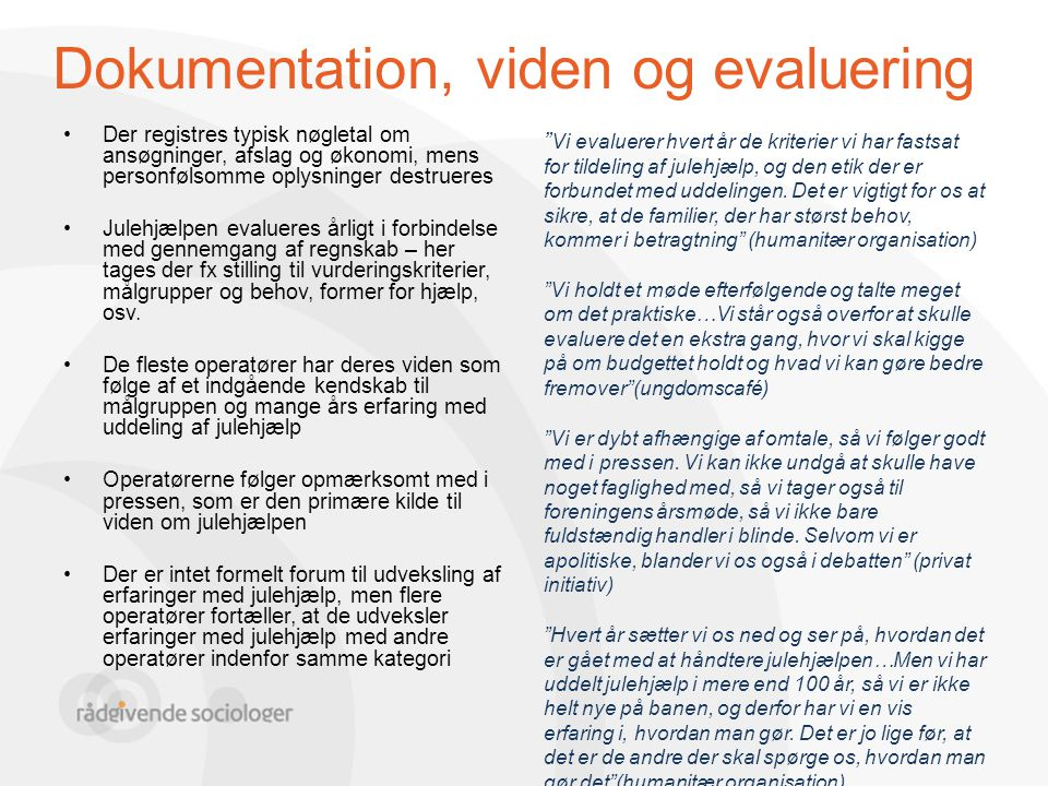 Dokumentation, viden og evaluering
