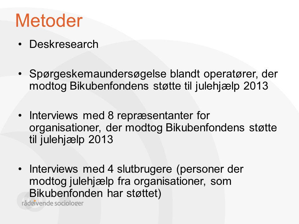 Metoder Deskresearch. Spørgeskemaundersøgelse blandt operatører, der modtog Bikubenfondens støtte til julehjælp 2013.