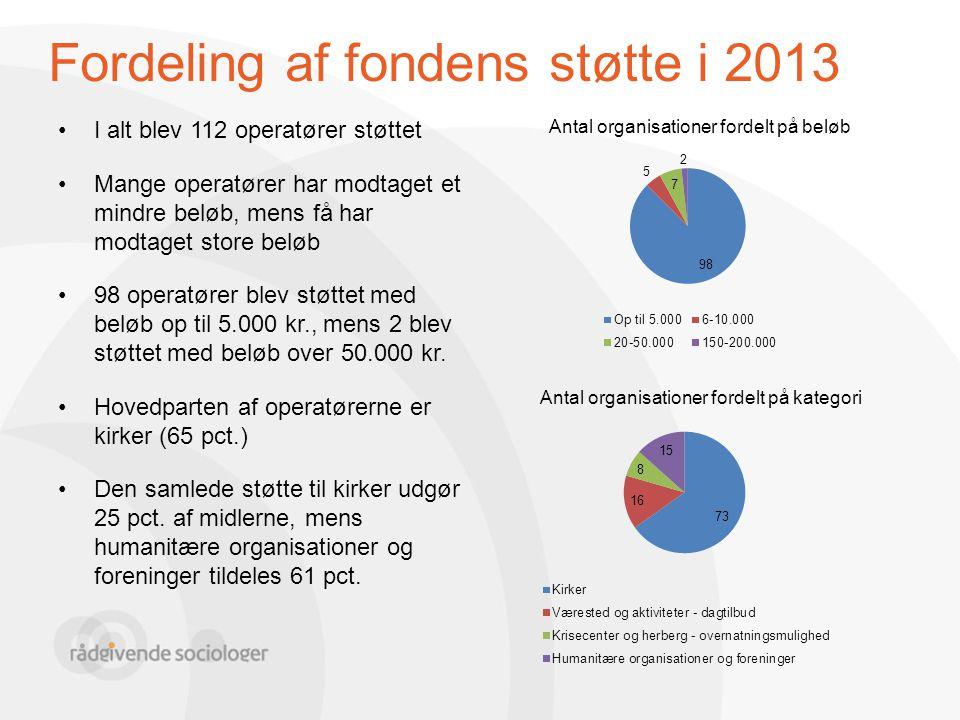 Fordeling af fondens støtte i 2013