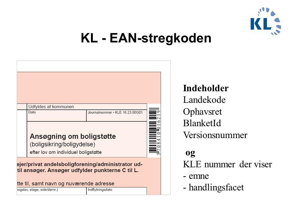 KL - EAN-stregkoden Indeholder Landekode Ophavsret BlanketId Versionsnummer.