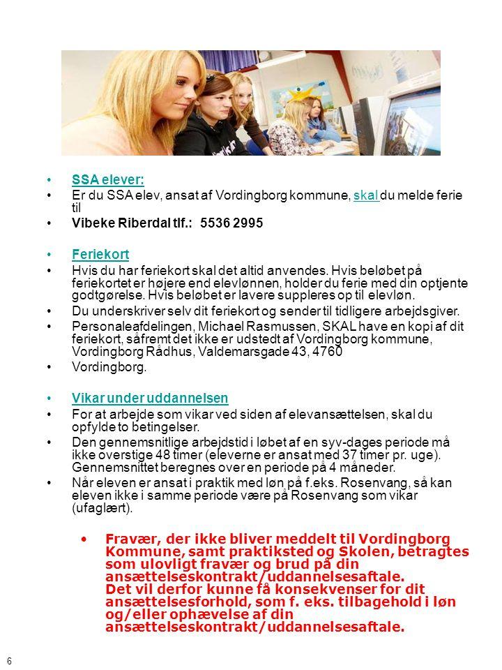 Er du SSA elev, ansat af Vordingborg kommune, skal du melde ferie til