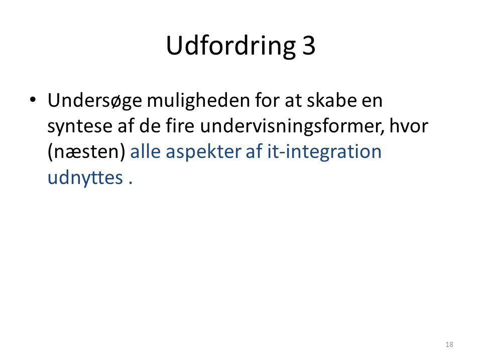 Udfordring 3 Undersøge muligheden for at skabe en syntese af de fire undervisningsformer, hvor (næsten) alle aspekter af it-integration udnyttes .