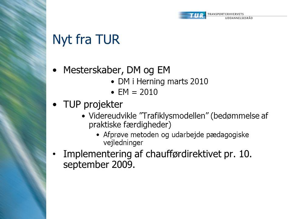 Nyt fra TUR Mesterskaber, DM og EM TUP projekter