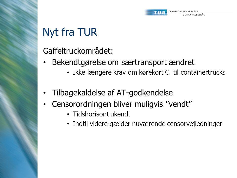 Nyt fra TUR Gaffeltruckområdet: Bekendtgørelse om særtransport ændret