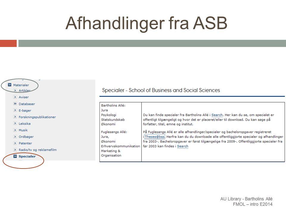Afhandlinger fra ASB