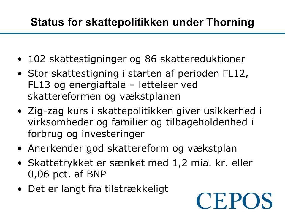 Status for skattepolitikken under Thorning