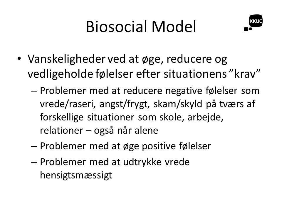Biosocial Model Vanskeligheder ved at øge, reducere og vedligeholde følelser efter situationens krav