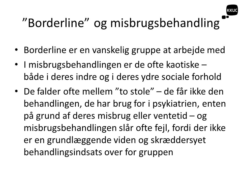 Borderline og misbrugsbehandling