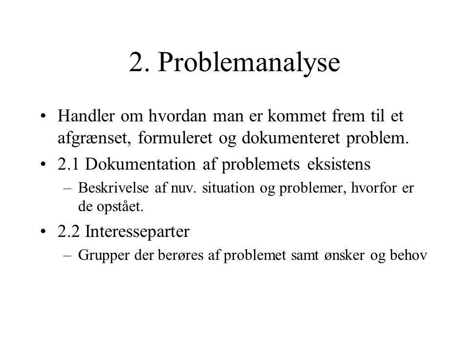 2. Problemanalyse Handler om hvordan man er kommet frem til et afgrænset, formuleret og dokumenteret problem.