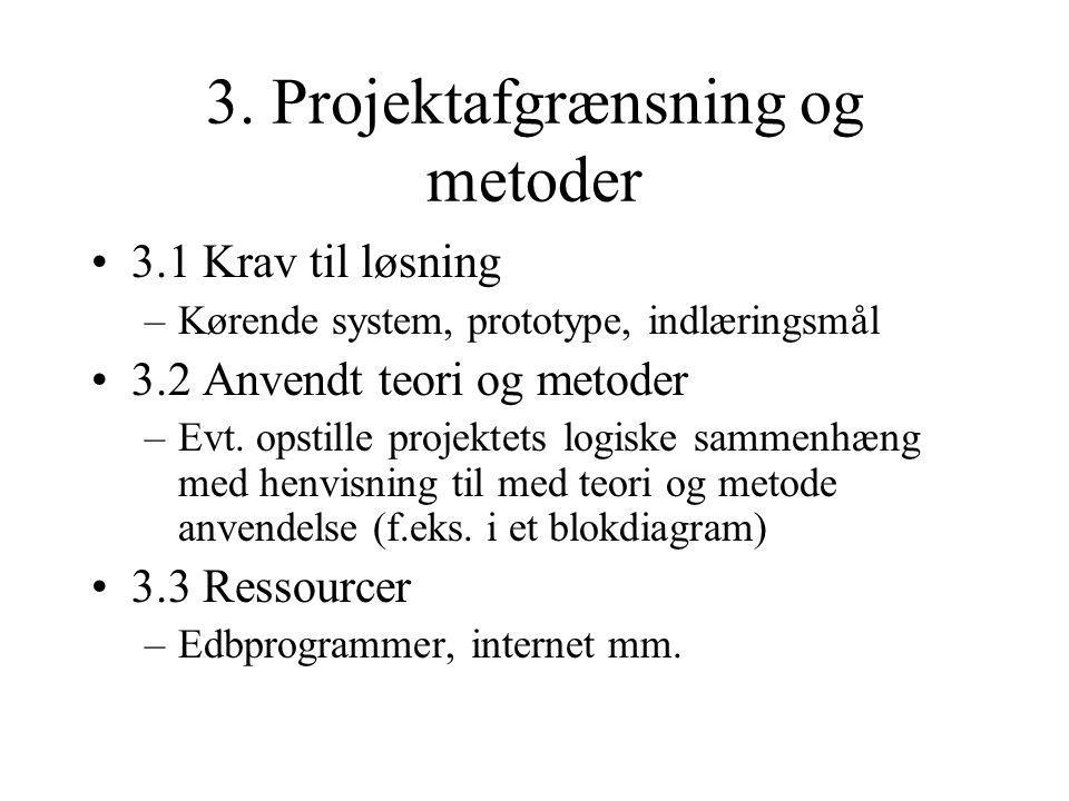 3. Projektafgrænsning og metoder