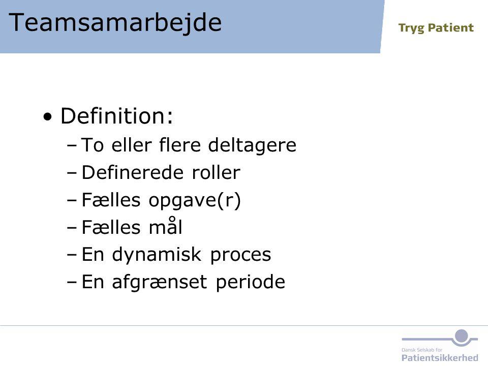 Teamsamarbejde Definition: To eller flere deltagere Definerede roller