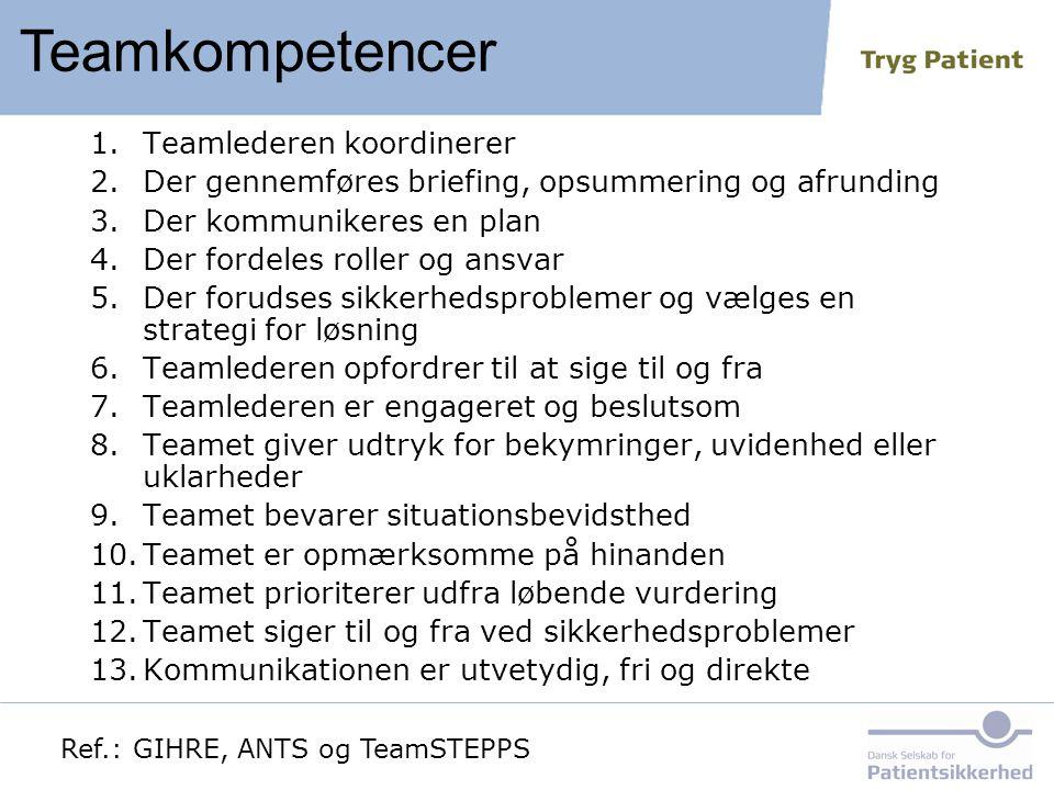 Teamkompetencer Teamlederen koordinerer