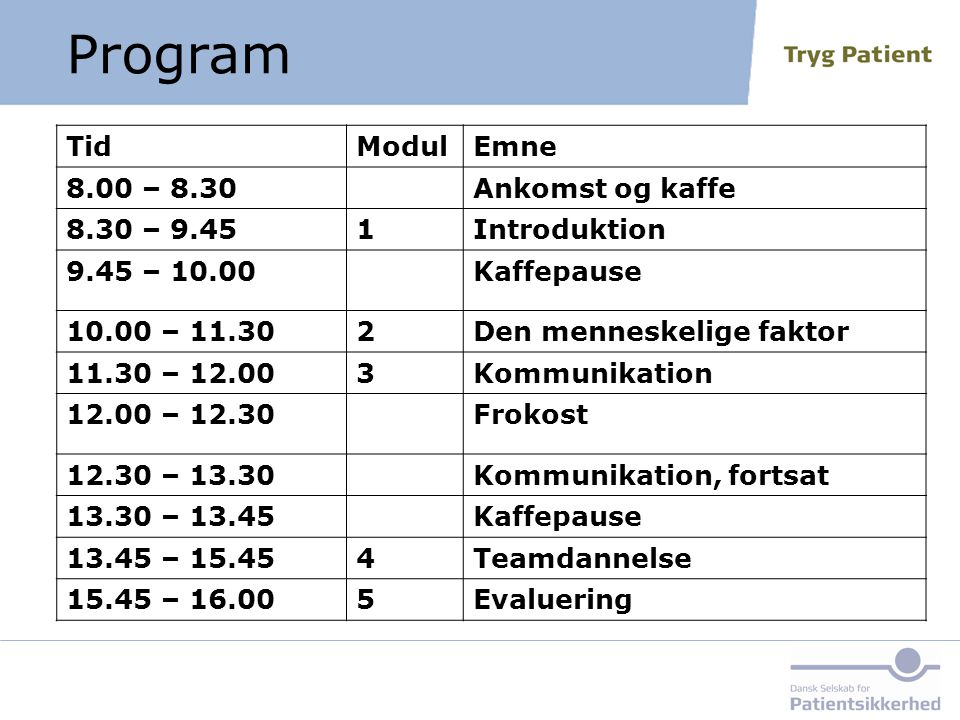Program Tid Modul Emne 8.00 – 8.30 Ankomst og kaffe 8.30 – 9.45 1