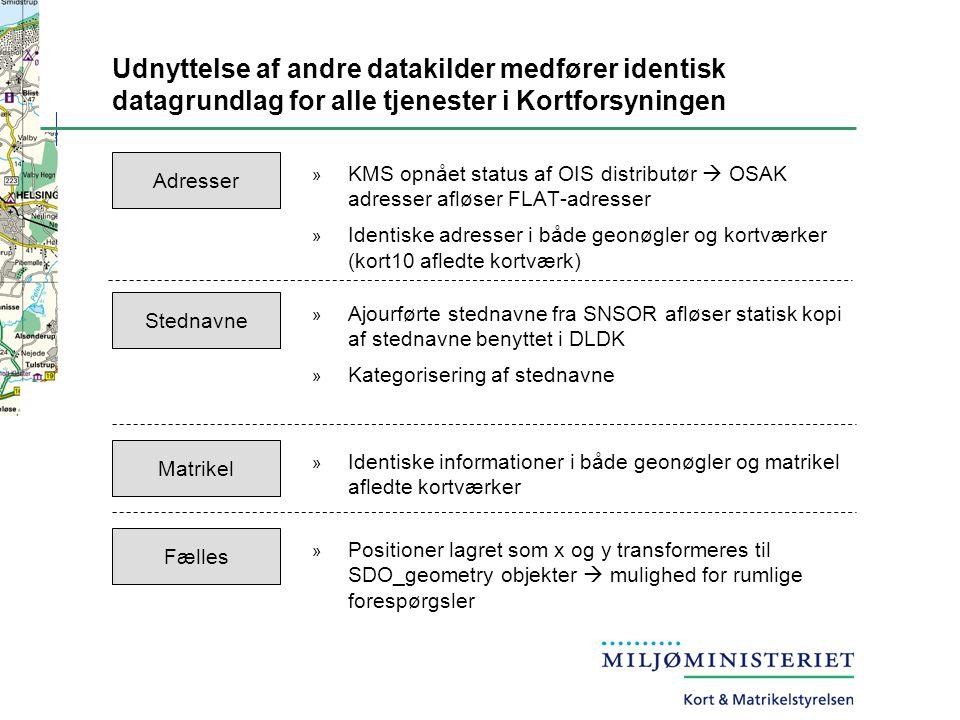 Udnyttelse af andre datakilder medfører identisk datagrundlag for alle tjenester i Kortforsyningen