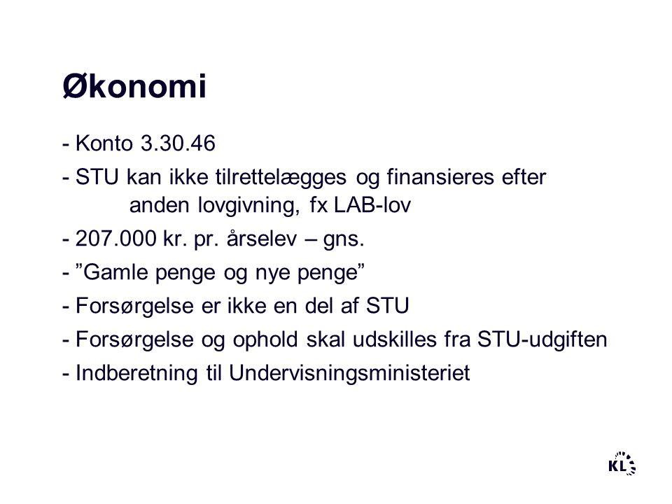 Økonomi - Konto 3.30.46. - STU kan ikke tilrettelægges og finansieres efter anden lovgivning, fx LAB-lov.