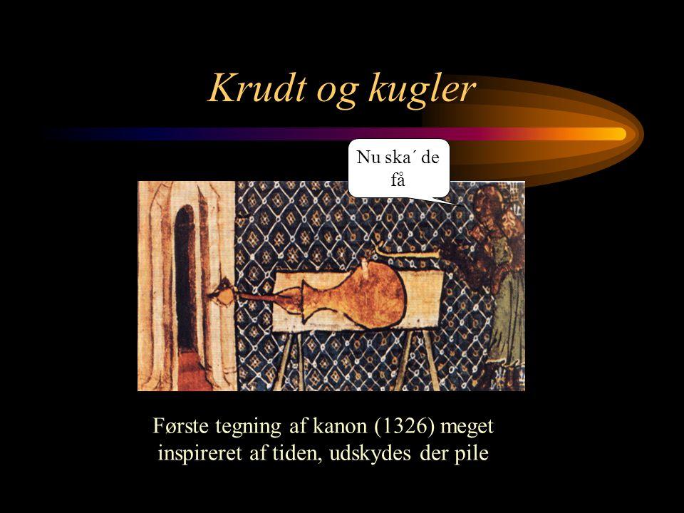 Krudt og kugler Nu ska´ de få. Fundet i oxford, blev anvendt mod Franskmændende i Crecy 1346.