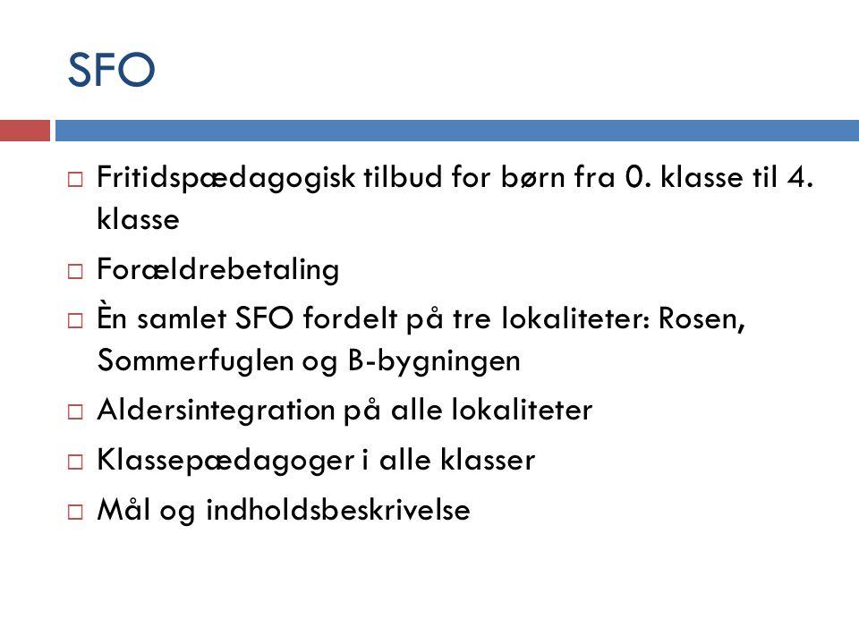 SFO Fritidspædagogisk tilbud for børn fra 0. klasse til 4. klasse