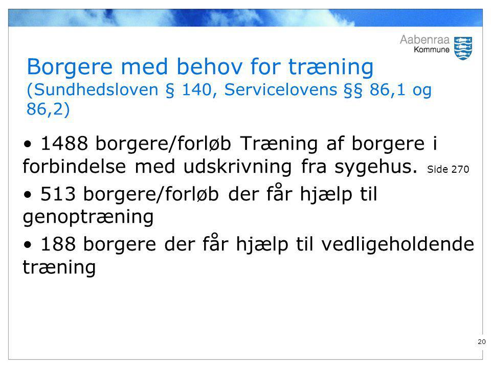 Borgere med behov for træning (Sundhedsloven § 140, Servicelovens §§ 86,1 og 86,2)