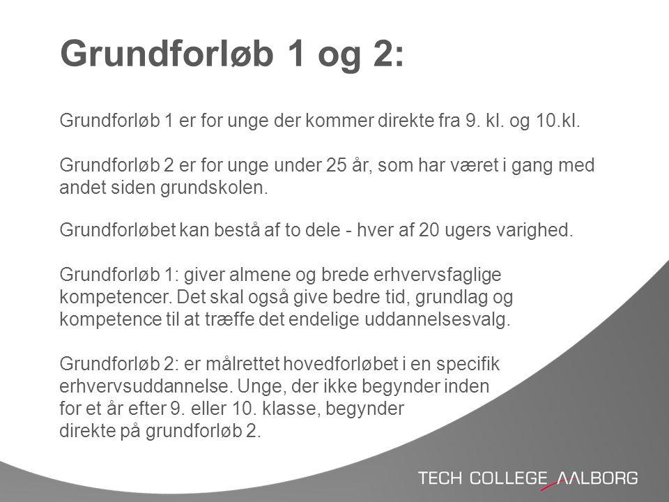 Grundforløb 1 og 2: Grundforløb 1 er for unge der kommer direkte fra 9. kl. og 10.kl.