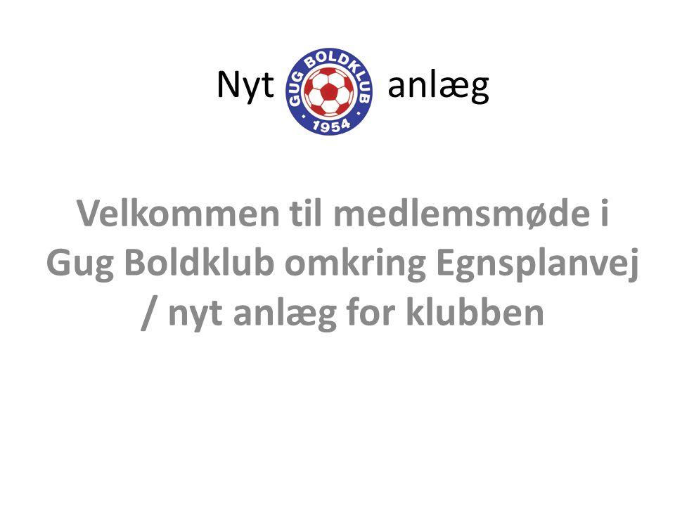 Nyt anlæg Velkommen til medlemsmøde i Gug Boldklub omkring Egnsplanvej / nyt anlæg for klubben.
