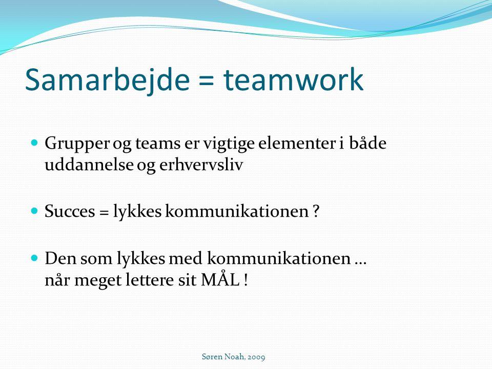 Samarbejde = teamwork Grupper og teams er vigtige elementer i både uddannelse og erhvervsliv. Succes = lykkes kommunikationen