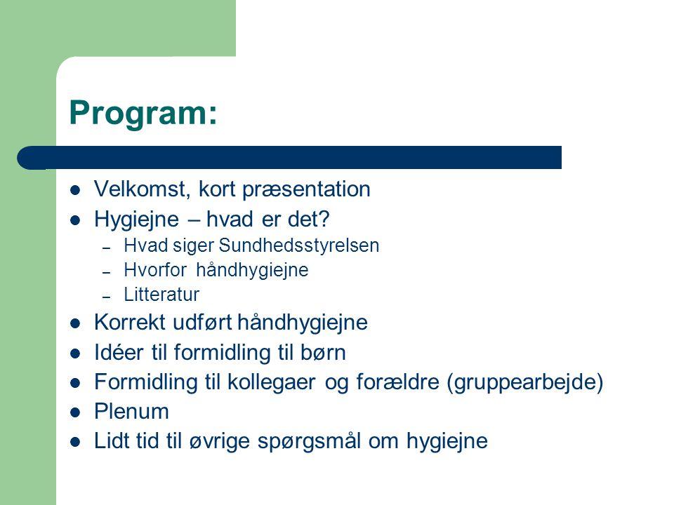 Program: Velkomst, kort præsentation Hygiejne – hvad er det