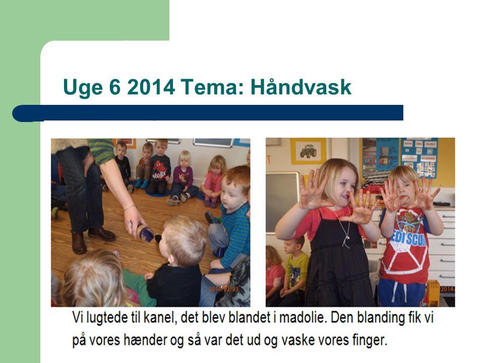 Uge 6 2014 Tema: Håndvask Mandag: kanel og olie på hænderne, sange, foto af børnene, mens de vasker hænder.