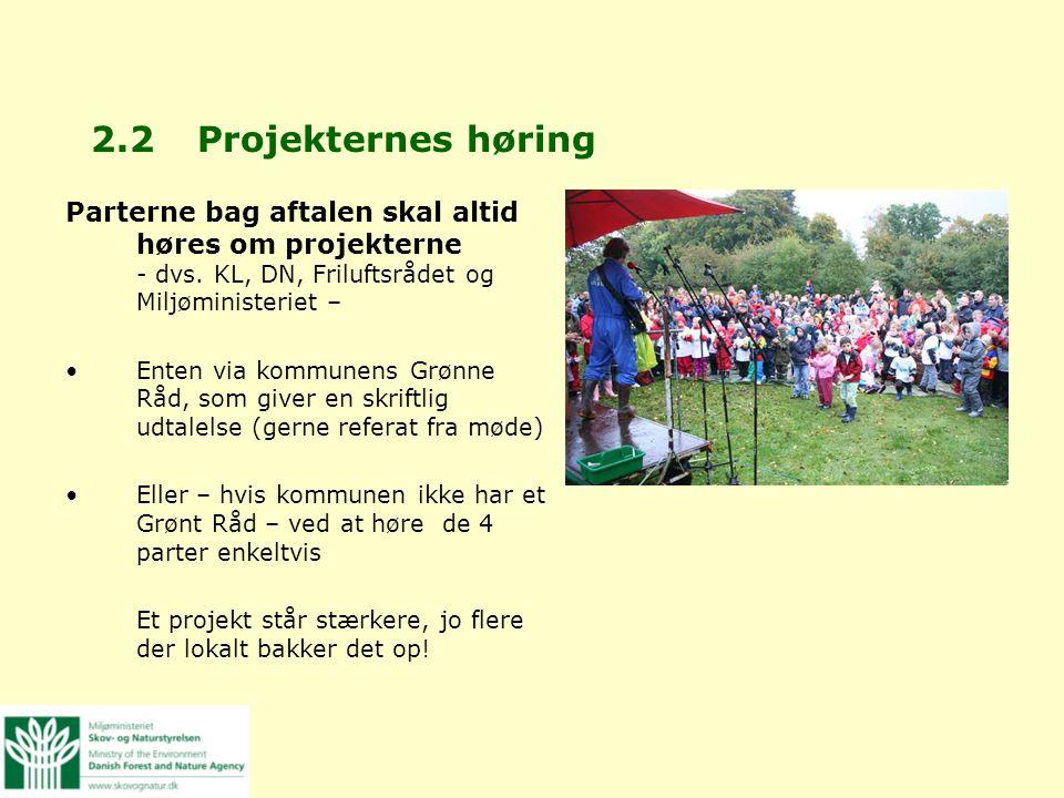 2.2 Projekternes høring Parterne bag aftalen skal altid høres om projekterne - dvs. KL, DN, Friluftsrådet og Miljøministeriet –